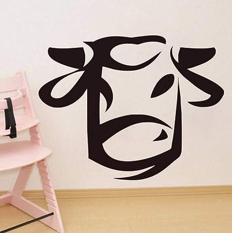 Amazon com: Dalxsh Cute Cartoon Cow Head Wall Sticker for