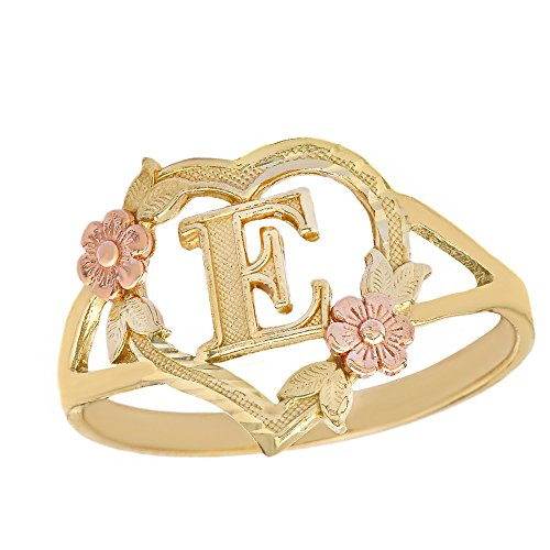 (CaliRoseJewelry 10k Two-Tone Initial Alphabet Personalized Heart Ring in Yellow and Rose Gold (Size 6.75) - Letter E )