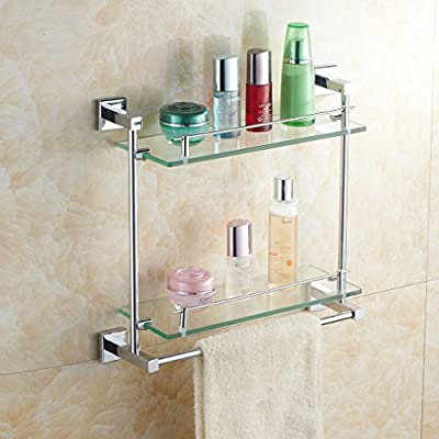 Leyden Wall Mounted Solid Brass Material Double-layer Bathroom Glass Shelf with Towel Bar Lavatory Accessories Tools and Improvement Shampoo Basket Bars