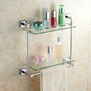 Amazon Com Ouku Wall Mount Bathroom Towel Shelf Two Floor Glass