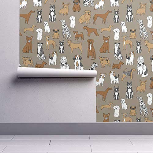 Peel-and-Stick Removable Wallpaper - Bichon Bichon Dog Puppy Husky Jack Russell Weiner Dog Shih Tzu by Andrea Lauren - 24in x 96in Woven Textured Peel-and-Stick Removable Wallpaper ()