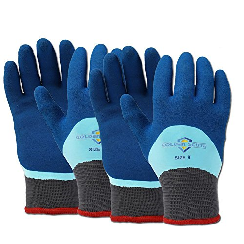 Golden Scute Freezer Winter Work Gloves, Double Lining Textured Rubber Latex Coated, Cold Weather Gloves for Shoveling Snow, Outdoor Heavy Duty Work, 2 Pairs (Large/Size 9)