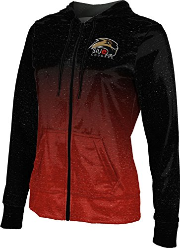 ProSphere Southern Illinois University Edwardsville Women's Zipper Hoodie, School Spirit Sweatshirt (Ombre) FCFD1 Black and Red