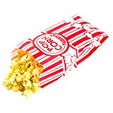 popcorn 50 - Carnival Style Paper Popcorn Bags, 50 1oz bags, Red & White Striped, Movie Theater Popcorn Bags