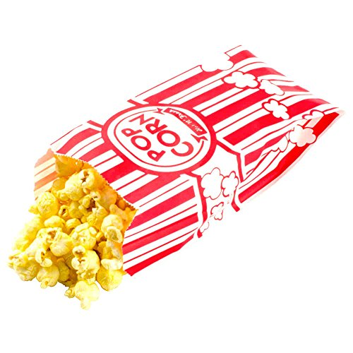 Carnival Style Paper Popcorn Bags, 50 1oz bags, Red & White Striped, Movie Theater Popcorn Bags ()