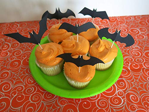 12 Black Bats Cupcake Toppers, Halloween Treat Table Ideas, Bat Shapes Food Picks, Toothpick Topper ()
