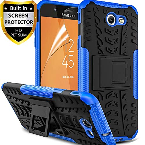Price comparison product image Samsung Galaxy J3 Luna Pro Case, Galaxy J3 Prime Case, Galaxy J3 Emerge /J3 Eclipse/J3 2017/ Amp Prime 2/Express Prime 2/Sol 2/J3 Mission Protective Phone Case, with Screen Protector Kickstand, Blue