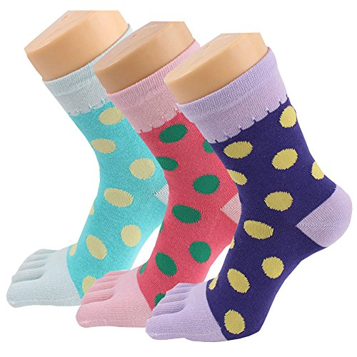Womens Toe Socks Polka dots Five Finger Cotton Casual (Pack of 3/4 / 6)