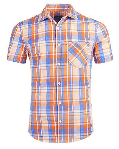 AVANZADA Men's Plaid Short Sleeve Button Down Shirts Slim Fit Work Casual Western Dress Shirts for Men(Orange S)