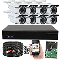GW Security 1920x1080P HD CVI 8 Channel Security System + 8 HDCVI 1080p 2.1MP Bullet Camera 3.6mm Wide Angle Lens Motion Detect Smartphone Access