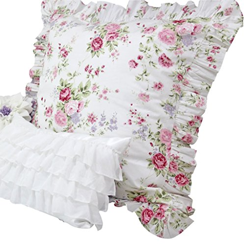 e Floral Shams Euro Size Pillow Covers-C ()
