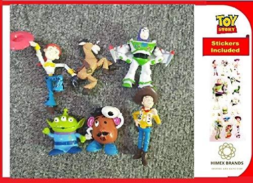 HIMEX BRANDS 6X Toy Story Figure Play Set Woody Buss Light Year Jessie Bulls Eye Little Green Men Mr Potato Free Stickers