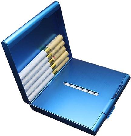 Lcxligang Estuche de Cigarrillos de Metal for Hombres, Estuche de Cigarrillos, Tapa Doble, Regalo Abierto for Hombres (Puede acomodar 20 Cigarrillos) (Color : Blue): Amazon.es: Hogar