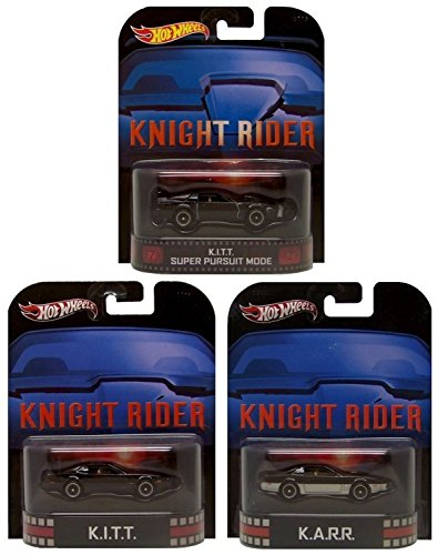 Hot Wheels Retro Knight Rider KITT, KARR & KITT Super Pursuit Mode Limited Edition 1:64 Scale Collectible Die Cast Metal Toy Car Models Set of 3