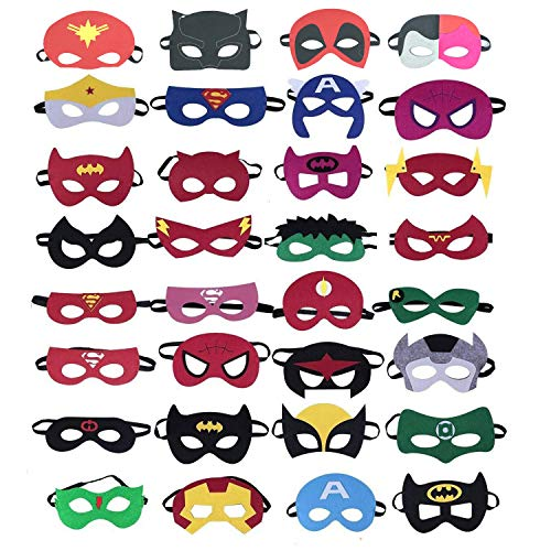 36 Pieces Superhero Masks,Superhero Party Supplies,Party Favor Half