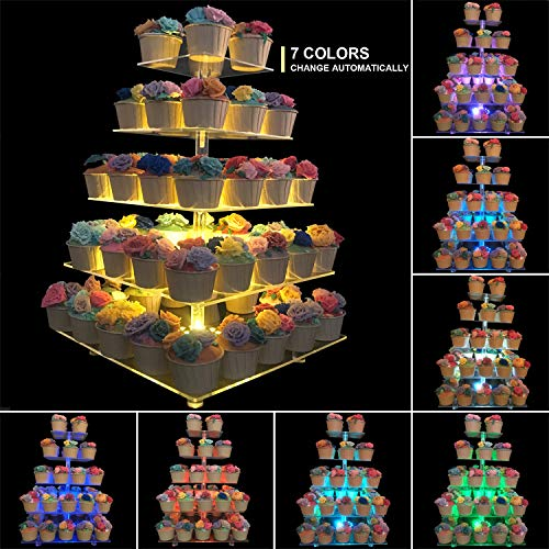 Monamour 5-Tier Cupcake Stand with 7-Color LED Light, Square Clear Acrylic Cupcake Tower, Dessert Display Stand, Layered Cake stand, Suitable for Weddings and Birthday Parties (5 Tier Square - 7 Color
