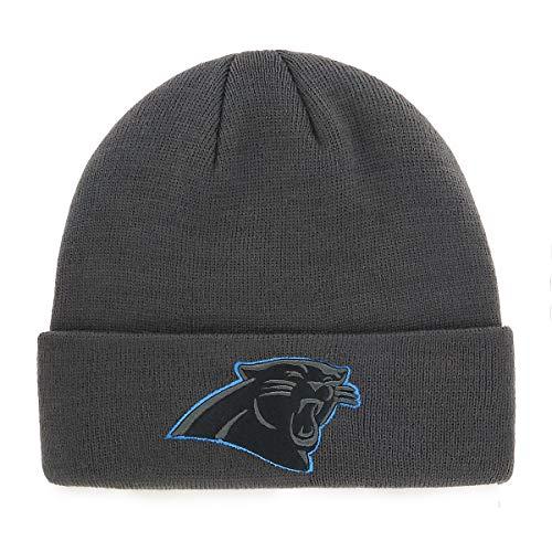 OTS NFL Carolina Pantshers Male Raised Cuff Knit Cap, Charcoal, One Size