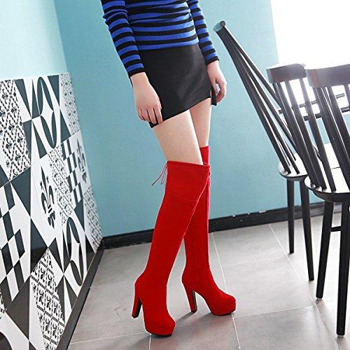 Jiame Femmes Faux Daim Chunky Talons Côté Glissière Plate-forme Anti-dérapant Dames Sexy Genou Haute Bottes Rouge