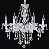 Tangkula Chandelier Ceiling Lighting Modern Contemporary Elegant Acrylic Crystal 6 Light Crystal Pendant Lamp Fixture (white 002) For Sale