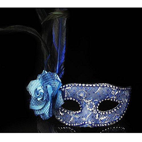 [Dongcrystal Feather Masquerade Flower Masks For Halloween Costumes Party Ball - Blue] (Wolf Goddess Costume)