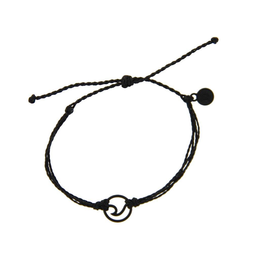 Pura Vida Black Wave OG Bracelet - Plated Charm, Adjustable Band - 100% Waterproof 841696120289