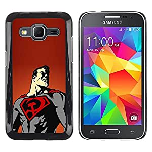 Design for Girls Plastic Cover Case FOR Samsung Galaxy Core Prime Superhero Flying Cape Art Poster Drawing OBBA