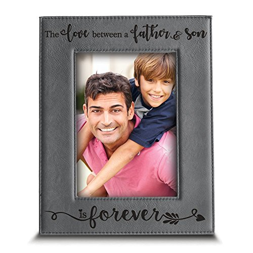 Bella Picture Frame - Bella Busta- the Love between a Father and Son is forever from Son-Dad gifts- Engraved Leather Picture Frame (5
