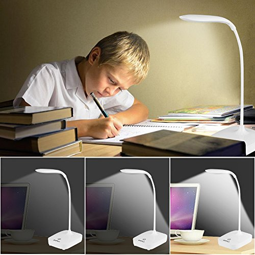 Brivation Dimmable LED Desk Lamp, 3 Dimming Levels, Eye-care, Touch Sensitive, USB Charge/4AA Batteries Table Lamp, Office Lamp, Reading Lamps, Bedroom Lamps White by Brivation (Image #5)