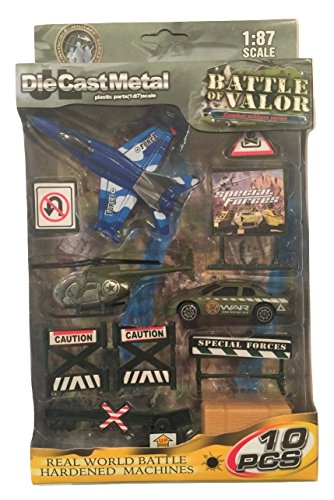 Battle of Valor Combat Military Series Die-cast Metal 1:87 Scale 10 Piece Set ~ F-18 Blue Hornet, Camouflage Helicopter, Rapid Response Vehicle and Accessories - Scale Diecast Battle Machines