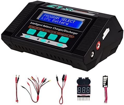 Keenstone 10A Air Conditioning 100W Balance Charger Discharger for LiPo/Li-ion/LiFe/LiHV Battery (1-6S), NiMH/NiCd (1-15S), Mini Tamiya, Standard Tamiya, XT60, Deans port, Alligator Clips