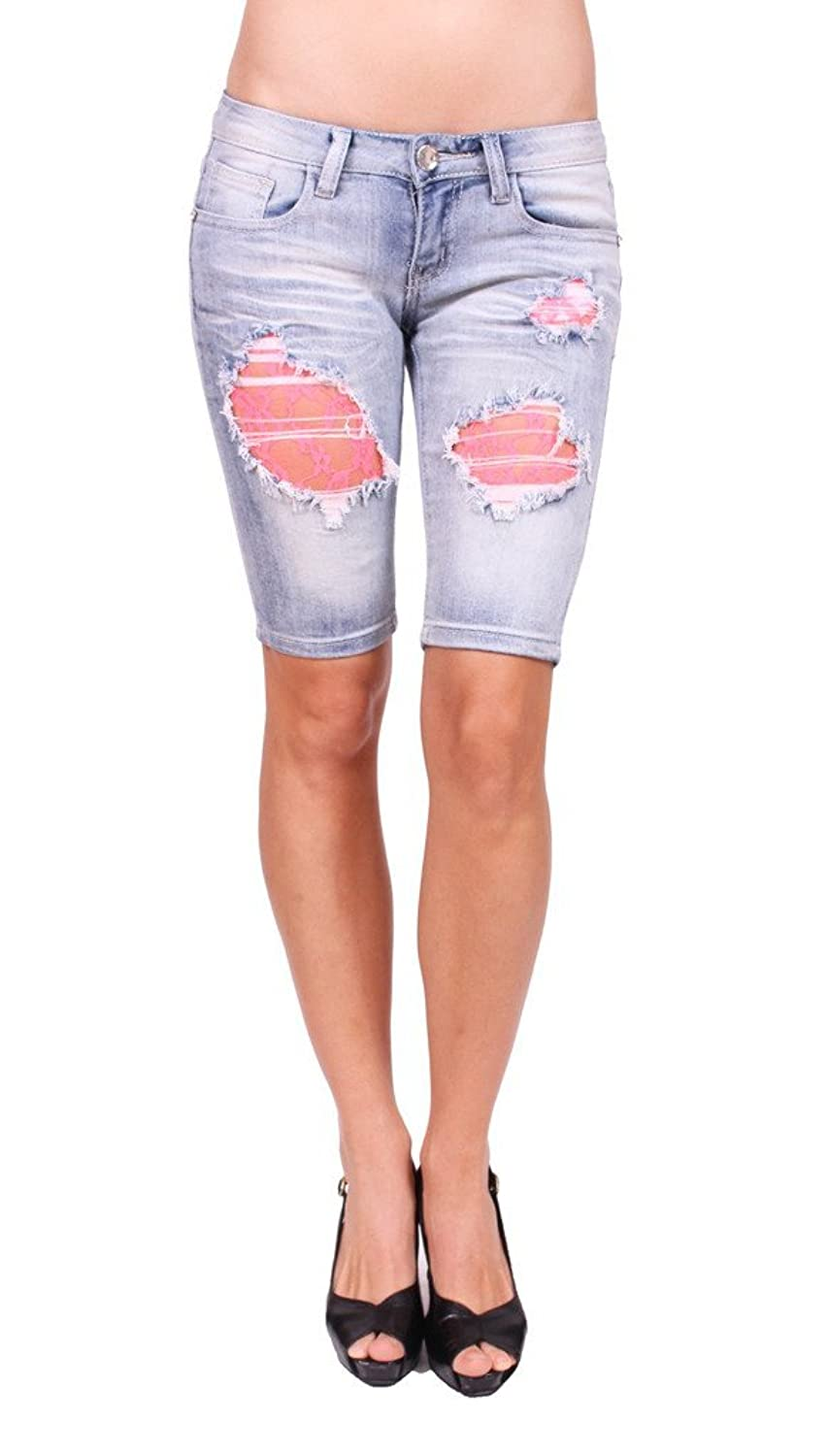 Machine Jeans Women Distressed Bermuda Jeans with Pink Lace