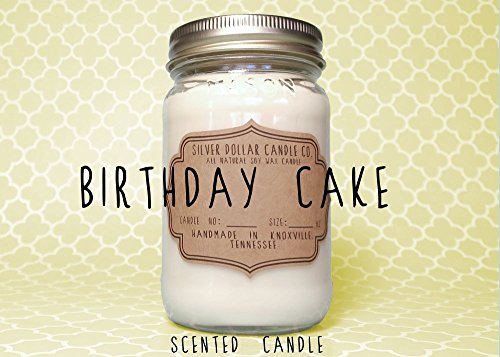 Birthday Cake Scented Candle 16oz Mason Jar Scent Gift Soy Wax