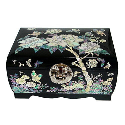 Mother of Pearl Flower Asian Lacquer Women Black Wooden Mirror Jewelry Trinket Keepsake Treasure Gift Girls Necklace Ring Embroidery Box Chest Case Organizer with Peony Design and Fish Lock Key by Antique Alive Jewelry Box