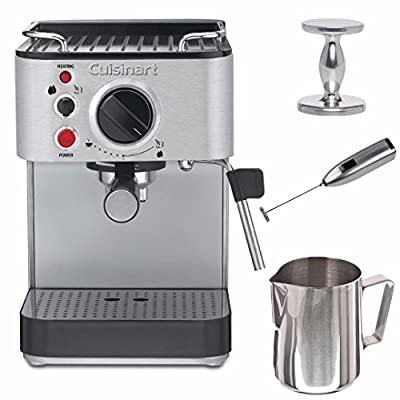 Cuisinart EM-100 15 Bar Espresso Machine (Stainless Steel) with Tamper and Milk Frother and Frothing Pitcher Bundle (Certified Refurbished)