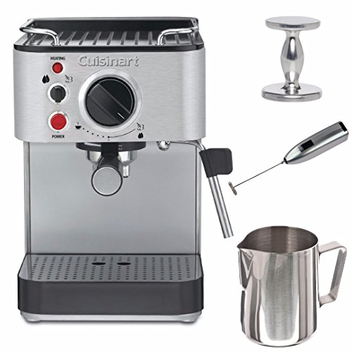 Cuisinart EM-100 15 Bar Espresso Machine (Stainless Steel) (Certified Refurbished) with Tamper and Milk Frother and Frothing Pitcher Bundle
