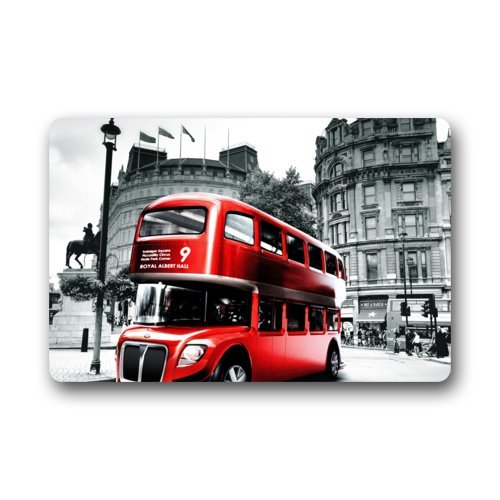 Retro Vintage Red London Bus on the Background of Black and White London Busy Street in England, Britain Home Fashions Rectangle Machine-washable Non-Slip non-woven fabric top Custom Doormat, Rectangle Indoor/Outdoor/Front Door/Bathroom Mats Rugs for Home/Office/Bedroom Floor Mat( 23.6 X 15.7 Inch) Stylish Door mat