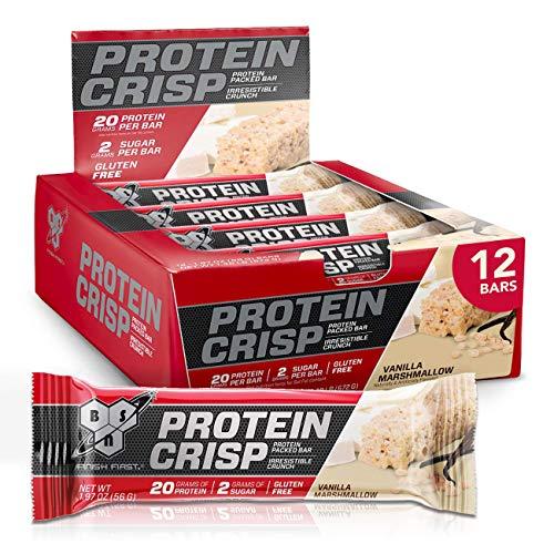 BSN Protein Bars – Protein Crisp Bar by Syntha-6, Whey Protein, 20g of Protein, Gluten Free, Low Sugar, Vanilla…
