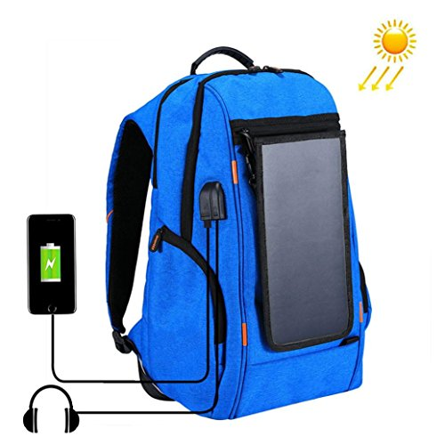 Price comparison product image Lywey Outdoor Multi-function Solar Energy Panel Power USB Charging Port Breathable Backpack With Adjustable Shoulder Straps,  29cm High (blue)