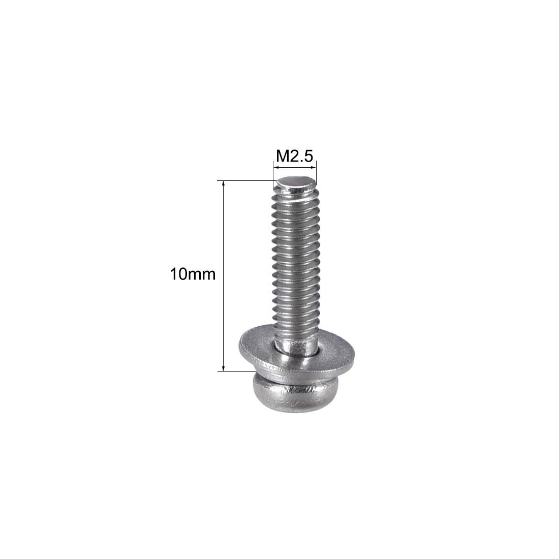 uxcell M3 x 12mm 304 Stainless Steel Phillips Pan Head Machine Screws Bolts Combine with Spring Washer and Plain Washers 20pcs