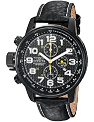 Invicta Mens I-Force Quartz Stainless Steel and Leather Casual Watch, Color:Black (Model: 90068)