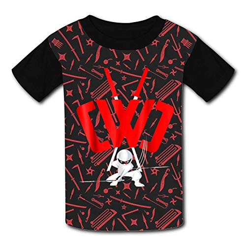 Youth 3D Short Sleeve T-Shirts CWC Chad Wild Clay Logo Kids Casual Graphics Tees Black