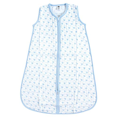 Hudson Baby Unisex Baby Safe Sleep Wearable Muslin Sleeping Bag, Blue Sheep 1-Pack, 0-6 ()