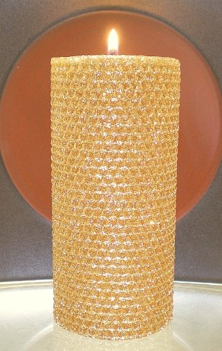 80 Hour-6 Inch Natural Beeswax Hybrid Pillar Glitter Candle, Gold (Gold Unity Candle)