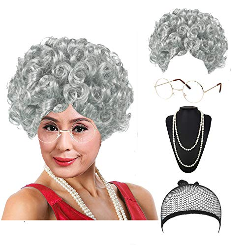 eforpretty Womens Cosplay Costume Old Lady Wig, w/Round Glasses & Pearl Necklace Beads Costume Accessories (C5) -
