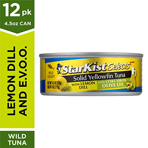 StarKist Selects E.V.O.O. Solid Yellowfin Tuna with Lemon Dill and Extra Virgin Olive Oil - 4.5 oz Can (Pack of 12) (Tuna Creations Lemon)