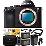 Sony a7R Full-Frame 36.4 MP Mirrorless Interchangeable Digital Lens Camera - Body Only (ILCE7R) with Must Have Accessories Bundle Kit includes includes x2 Replacement (1200mAh) NP-FW50 Battery + Hard Shell Carrying Case + Home Wall Charger with Car and European Adapter + Wireless Shutter Release Remote + HDMI Cable + Camera Lens Cleaning Kit + Bonus for Digital Prints