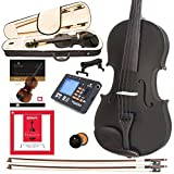 Cecilio CVN-Black Solidwood Ebony Fitted Black Violin with D'Addario Prelude Strings, Size 4/4 (Full Size)