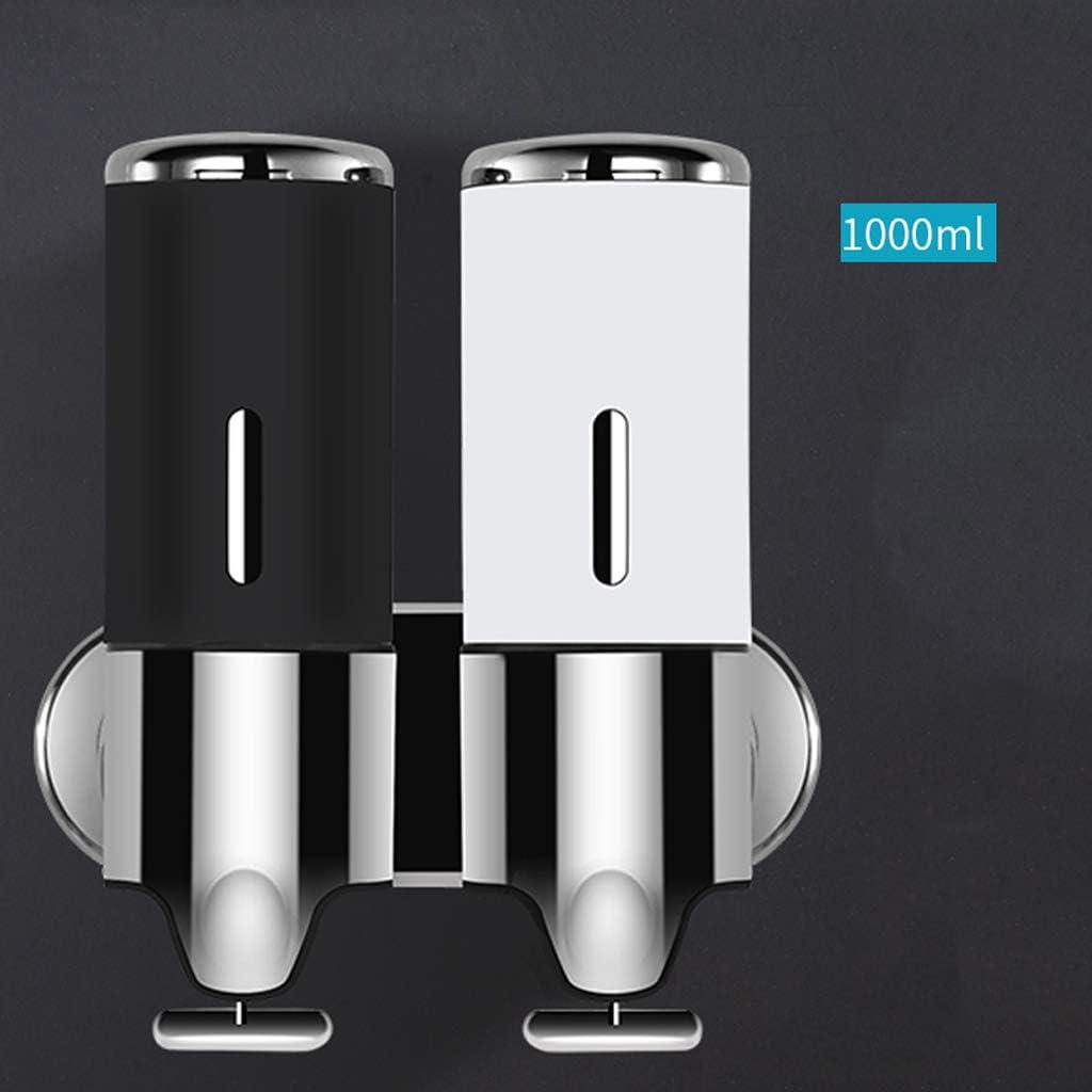 Color : Black White QARYYQ Dispenser di Sapone Box Doccia di Gel Doccia per Bagno erogatore di Sapone Bottiglia di disinfettante per Le Mani a Doppia Pompa in Acciaio Inox da Parete 500ml