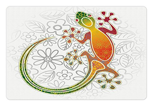Tropical Gecko Lizard - Ambesonne Batik Pet Mat for Food and Water, Native Southeast Asian Common House Gecko Moon Lizard Tropical Monster Graphic Design, Rectangle Non-Slip Rubber Mat for Dogs and Cats, Multicolor