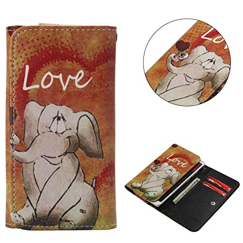 "Universal Cell Phone Flip Case Compatible LG G Stylo G4 Stylus 4G LS770 H631 F560K 5.7"" and More, Tenplus PU Leather Skin Protective Folio Case Cover Wallet Bag with Card Slots (Naughty Elephant)"